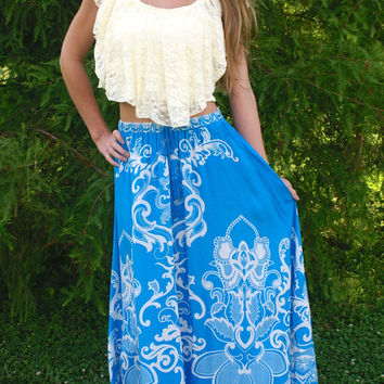 Enchanted Love Maxi Skirt: Blue/Ivory