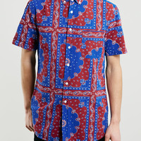 Blue Bandana Print Short Sleeve Shirt - Topman