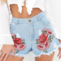 Denim Hot Sale Summer Women's Fashion Floral Ripped Holes Weathered Shorts [11677690703]