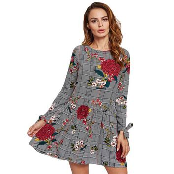 Floral and Plaid Drop Waist A Line Casual Dress