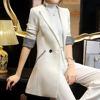 2016 Korean Style Women Elegant Long Blazer Black White Pink Women Long Sleeve  Jacket Coat Women Blazers JN114