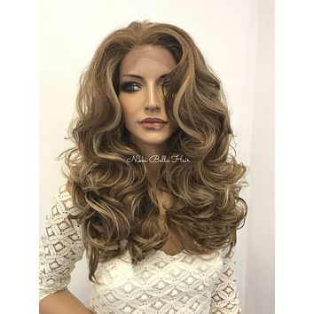 Balayage Blonde Curls Human Hair Blend Deep Parting Lace Front Wig - Delia