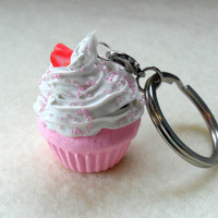 Kawaii Strawberry Cupcake Charm Keychain