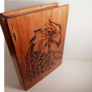 Wooden Book Box hawk falcon eagle bird woodburning pyrography wood burned box jewelry book boxes keepsake box wood box trinket Etsy gift art