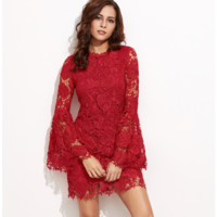 Embroidered Dress with Bell Sleeves