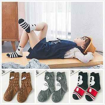 New 4 Styles Apposite Baby Children Girls Cute Cartoon Fox Pattern Socks Soft Cotton Ankle Socks 1pair 1-10Y