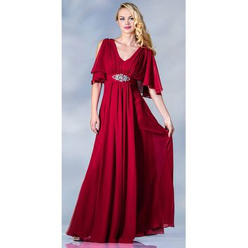 Long Chiffon Grecian Red Dress Mid Length Sleeves V Neck