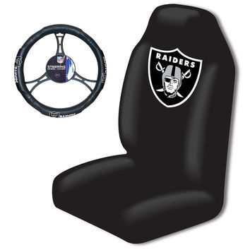 Oakland Raiders NFL Car Seat Cover and Steering Wheel Cover Set