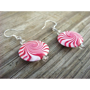 Peppermint Earrings  Red and white Sterling Silver by JustClayin