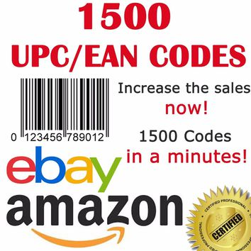 1500 UPC EAN Numbers Barcodes Bar Code Number for ebay Amazon Lifetime Guarantee