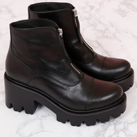 Zipper Combat Boot - Black Leather