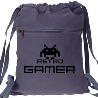 Retro Gamer Backpack Space Invaders - Drawstring Book Bag