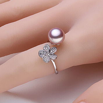 Purple freshwater pearl ring 100% real freshwater pearl jewelry romantic gift for women R013