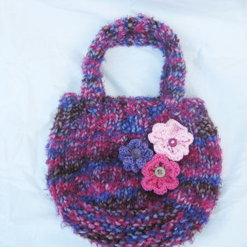 Knitted bag with flowers- women's knitted purse -girl's handmade bag- violet hand knitted bag