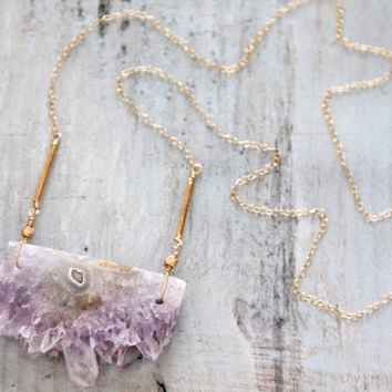 Amethyst Geode Slice  Necklace by MesaBlue on Etsy