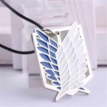 Cool Attack on Titan  Necklaces feather Pendants Wings Of Liberty Metal Unisex Leather Chain Fashion Jewelry Pendant gift men women AT_90_11
