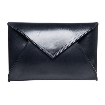 Beaumont Organic Pamplona Navy Leather Clutch Bag