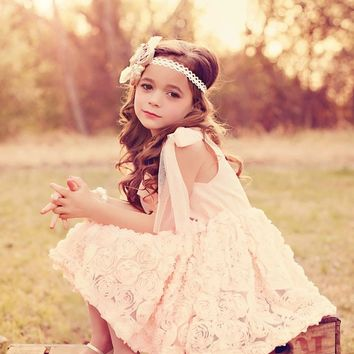 Ribbons and Roses Peach Dress - Ryleigh Rue Clothing by MVB