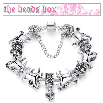XCH1272 Horse Charm Bracelet 925 Sterling Silver Murano Glass & Crystal Beads + Free Shipping
