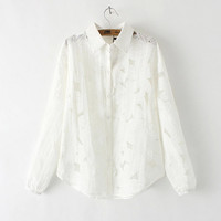 White Floral Lace Cutout Long-Sleeve Button Collared Shirt