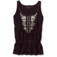 Eddie Bauer Floral Cross-Stitch Embroidery Tank Top