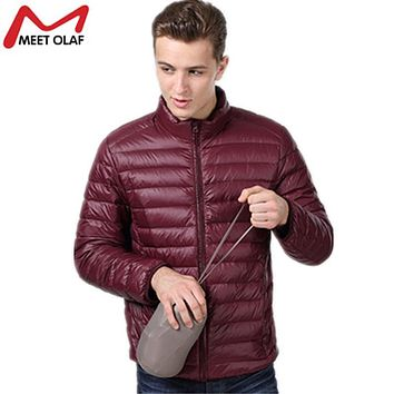 2017 Plus Size 4XL Men Winter Jacket and Coat Mans Ultra Light Down Cotton Padded Thin Parkas Stand Collar No Hood Jackets YL896