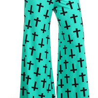 Chic Plus Mint/Black Crosses Palazzo Pants