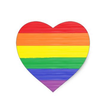 Painted Rainbow Flag Heart Sticker