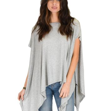 Lyss Loo Somedays Lovin' Comfort Over-sized Draped Grey Tunic Top