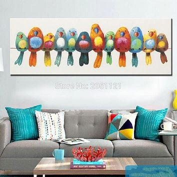 Art Oil Painting home-made canvas colorful birds cute lovely picture No Frame