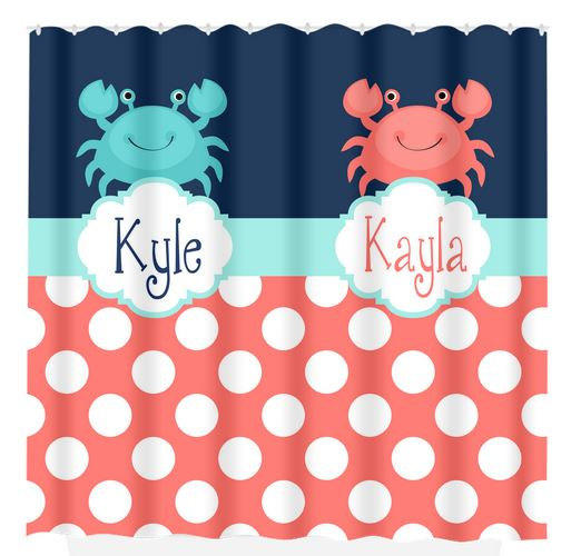Crab Nautical SHOWER CURTAIN Coral Navy From HoneyDesignStudio On