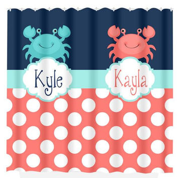 Crab Nautical SHOWER CURTAIN Coral Navy Aqua Custom MONOGRAM Brother Sister  Polka Dot