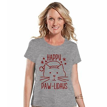 7 at 9 Apparel Women's Funny Cat Christmas T-shirt