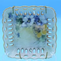 Begonia Floral Square Plate Hanging Vintage Blue & Yellow Flowers Painted Lace Cut Dish Gold Trim Hanging Decorative Plate Trinket Dish