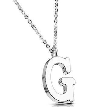 BodyJ4You Necklace Letter G Initial Alphabet Charm G Stainless Steel Chain