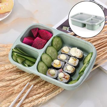 Grid Wheat Lunch Microwave Biodegradable Food Box