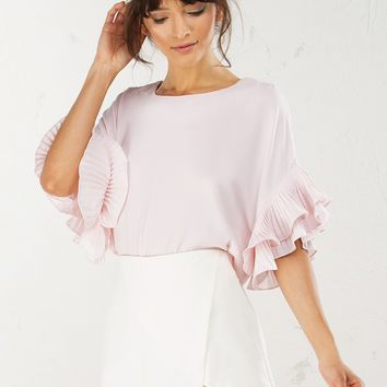 Ruffle Sleeve Top in Light Pink and Black