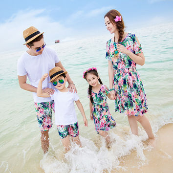 Family Matching Outfit Flower Beach Travel Holiday Parents Clothing Mother Girl Daughter Dress Father Boy Son Clothes Set S2904