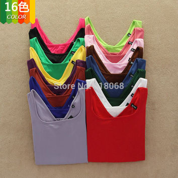 Big SALE!!2016 New Women's Clothing T-shirt in Autumn/Winter Cheap Multicolor U-neck Long Sleeve Tops Warm Basic Shirt FreeShip