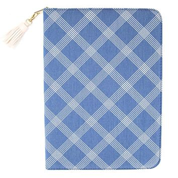 Chambray Folio Organizer in Blue Checkered with Pink Tassel