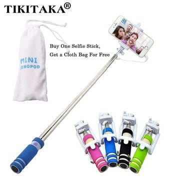 With Cloth Bag Portable Mini Folding Phone Wired self Selfie Sticks For iphone Samsung Built-in Shutter Camera Monopod Tripod