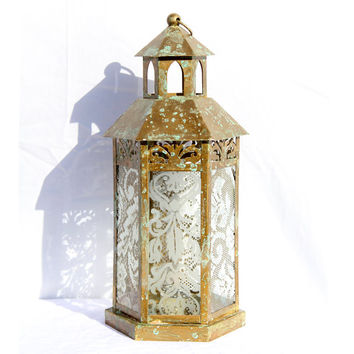 Romantic Glass Lantern, Glass Lantern, Gold Lantern, Glass Hurricane, Gold Hurricane, Glass Candle Holder, Wedding Lantern Centerpiece