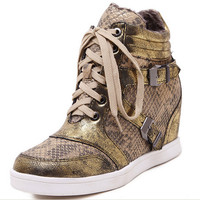 Winter Autumn boots Women Fashion Lace Up boots Fashion Snake Leather Wedge boots for women Sneakers Casual Sport Shoes D194