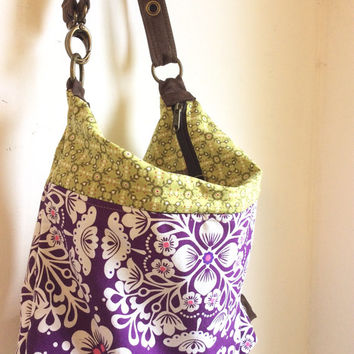 Purple Convertible Backpack, cotton Backpack, Convertible Backpack Tote, Travel Bag, Multi Pocket Bag, Convertible Hobo Purse, gift for her