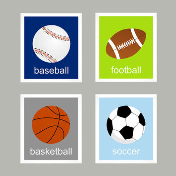 Sports, Baseball Football Soccer Basketball CUSTOMIZE YOUR COLORS 8x10 Prints, set of 4 nursery decor nursery print art baby room decor kids
