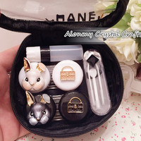 Contact Lenses Lens Case Holder Box Portable Travel Kit Set Cute Rabbit,Cosmetic Contact Lenses Case Traveling Set