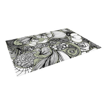 "Anchobee ""Doodle Dos"" Gray Green Indoor / Outdoor Floor Mat"