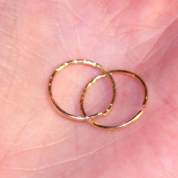 Small Cartilage Earrings, Textured Nose Ring, Septum Ring, Nose Hoop,  Ear Cuff, Helix Hoop, Nose Rings, Seamless Hoop, Piercing Jewelry