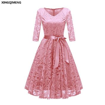 In Stock Pink Cocktail Dresses Full Lace Three Quarter Sleeve Elegant Short Homecoming Dress Chic Formal Dress Short Prom Gown