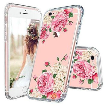 DCCKV2S iPhone 6 Case, iPhone 6 Cover, MOSNOVO Floral Pink Rose Flower Clear Design Transparent Plastic Hard Case with TPU Bumper Protective Back Phone Case Cover for Apple iPhone 6/6s (4.7 Inch)